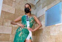 Andrea Meza porta vestido de la diseñadora tabasqueña Teté Rosado, en actividad de Miss Universo