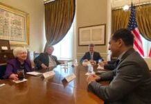 Arturo Herrera dialoga con Janet Yellen y Kristalina Georgieva durante su gira en Washington